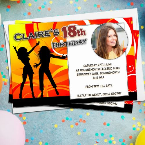 10 Personalised Girls DISCO Dance Birthday Party PHOTO Invitations N28